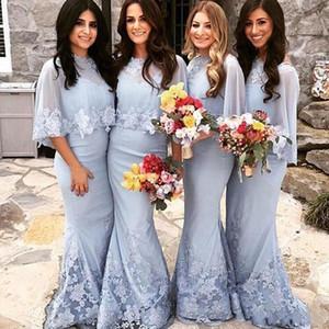 Nuevos vestidos de dama de honor de plata africana árabe Mermaid encaje apliques de abalorios longitud del piso para vestido de invitados de boda vestidos de fiesta con chaqueta de envolturas
