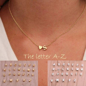 26 letters long sweater chain choker necklace tiny love heart pendants for women collier lovers gift gold silver A-J