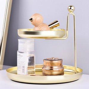 Nordic doppio strato di stoccaggio vassoio cosmetici gioielli cremagliera Desktop finitura Vassoio Dressing Scaffale d'oro vassoio portaoggetti