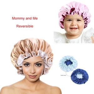 Мамочка и я сатин Bonnet двухслойных Женщины Ночь Спящего Cap Дети головных уборы аксессуары для волос Реверсивного Silky Bonnet