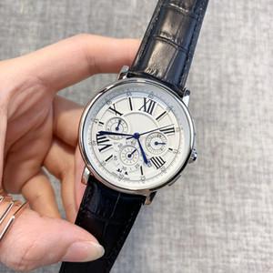 TOP Todos os mostradores de trabalho Cronômetro Men Watch Relógios de luxo com calendário cinta de couro de alta qualidade Quartz Relógio de pulso para homens Altamente recomendar