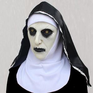 Máscara de Halloween Nun femenino asustado fantasma Sombrero Nun máscara del horror cosplay Valak máscara de látex de miedo con 2 Estilo Pañuelo chooseDHL