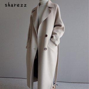 sharezz 2019 hiver manteau en laine femme large revers ceinture manteau en laine mélange manteau longue laine manteau femme hiver