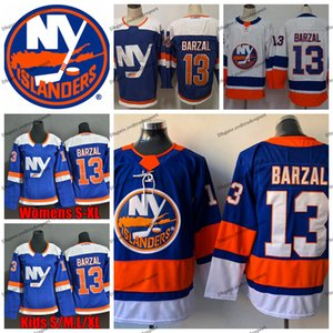 2019 New York Islanders 13 Mathew Barzal Hóquei Jerseys Home Real Azul Alternativo Mathew Barzal Costurado Camisas S-XXXL