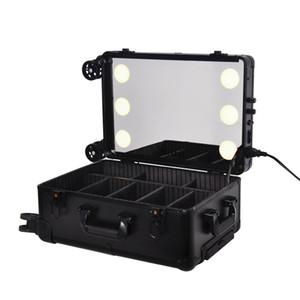 Varilla caso cosmético Tire profesional con 6 luz, LED Llight ajustable, caja de maquillaje de la capacidad grande de cosmética bordado Caja de herramientas de viaje