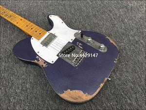 جودة عالية الأجزاء القديمة المصنوعة يدويا 6 سلسلة الغيتار الكهربائي، الزيزفون الجسم خشب القيقب، والطلاء الأرجواني والكروم مطلي الأجهزة، وحرية الملاحة
