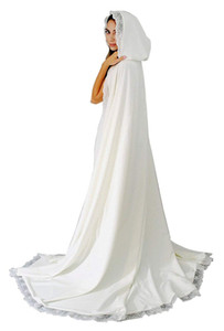 Women's Long Wedding Cape Hooded Cloak for Bride Lace Edge Charming Appliques Cathedral Length Wedding Cloak Bridal Cape