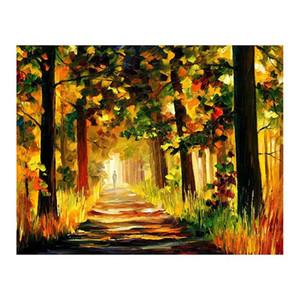 """72 """"x48"""" paleta faca floresta caminho pintado à mão pintura a óleo da lona a sala de estar sofá cenário parede adorno pintura europeia"""