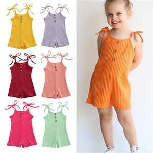 kids clothes girls Sling romper newborn infant Suspenders Solid color Jumpsuits 2020 summer baby Climbing clothes