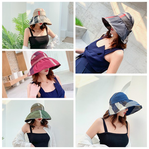 Lady Fashion Hat for Woman Plaid Print Wide Brim Hat Summer Outdoor Cycling Visor Hats Foldable Round Top Sun Protection Hats VT0261