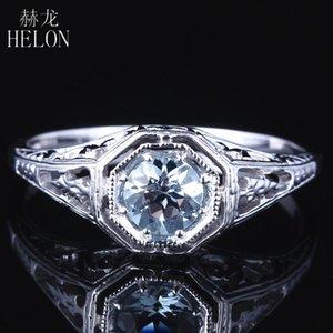 HELON Festes weißes Gold 14K AU585 Runde 4,5mm Natur Aquamarin Verpflichtungs-Jahrestags Filigree Frauen Art Deco Fine Jewelry Ring