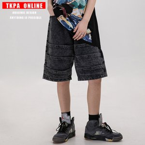 ins in Europe and the high street, hip bath bf loose straight torre straight stitching jeans shorts for men and women