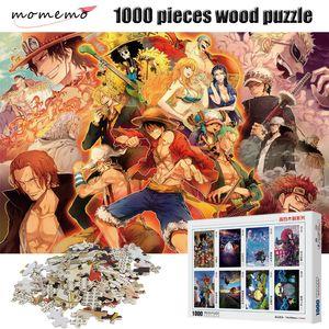 MOMEMO 성인 나무 퍼즐 1000 개 조각 ONE PIECE 고화질 만화 애니메이션 퍼즐 엔터테인먼트 장난감 1000 조각 퍼즐 Y200421