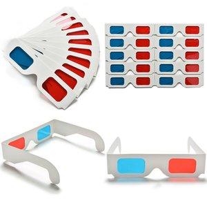 100 pares de papel Universal Anaglyph óculos 3D de papel 3D Glasses Visualização Anaglyph Vermelho Ciano vermelho / azul 3D Vidro Para Filme EF