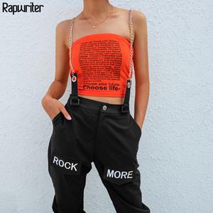 Rapwriter Hip Hop Ketten Patchwork-Buchstabe-Stickerei-Hosen-Frauen 2019 elastische hohe Taillen-Schwarz-Hosen Capris Hosen weiblich