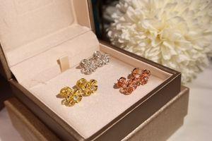 Women Earrings 18K Gold Small Flower Stud Earrings in Sterling Silver fashion style for women 2020 new