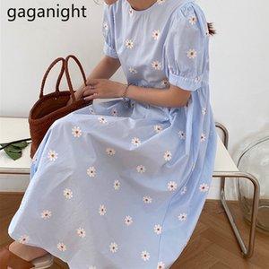 Gaganight Embroidery Flower Women Maxi Dress Sweet Girls Chic O Neck Short Sleeve Summer Dresses Fashion A Line Loose Vestidos