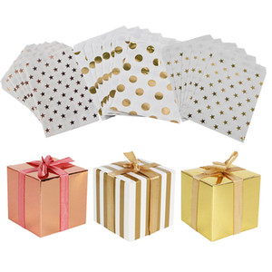 MEIDDING Gold Dot Striped Star Gift Bag Kids Birthday Party Decoration Dessert Candy Cookie Gift Bags Packing Stripe Candy Box