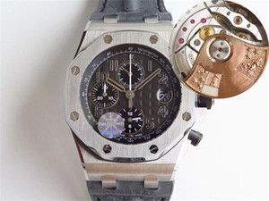 JF V2 Yeni Lüks 26.470 İzle İsviçre 3126 Otomatik Chronograph Safir Paslanmaz Çelik Kasa Gri Deri Kayış Erkek Saatler Dial