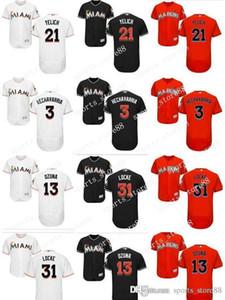 coutume femmes Hommes Marlins Jersey 3 adeiny hechavarria 13 Marcell Ozuna 21 Christian Yelich 31 Jeff Locke orange Baseball Jersey