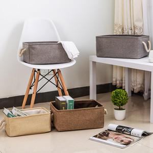 New large folding Linen fabric storage basket kids toys storage box Clothes Bag organizer Holder with Handle