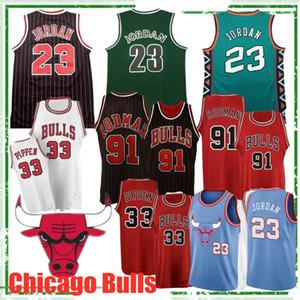 MJ Jersey basaket forması Scottie 33 Pippen Dennis'in formaları 91 Rodman Üst Kalite erkekler basketbol formaları Sıcak Retro