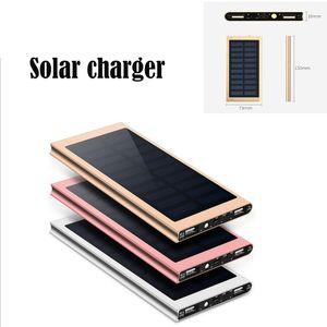 alumínio de alta qualidade Ultra Slim Luxo 20000mAh carregador de bateria externo portátil Solar Power Bank Duplo USB para todos telefone iPhone / Xiaomi