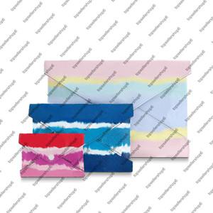 M69119 ESCALE POCHETTE kirigami mulheres lona três bolsas de estilo envelope embreagem tie-dye Calf-couro real do saco bolsa bolsa carteira