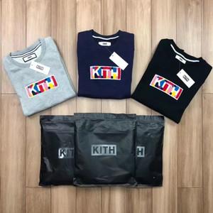 18FW KITH Classique Couleur Pure Crewneck Box Logo Sweatshirt Casual Rue Couple Coton Pull Pull Automne Hiver Hoodies Veste