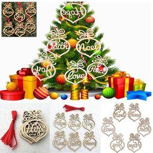 Weihnachtsbrief Holz Herz Blase Ornamente Dekoration Weihnachtsbaum Anhänger Buchstaben hängende Geschenk-Partei-Dekor 6pcs / Set HH7-1403