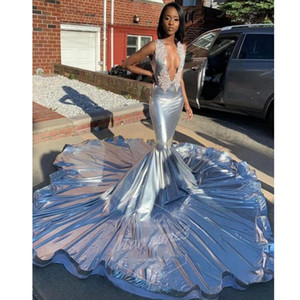 Light Blue Mermaid Evening Dresses Long 2020 New Arrival Sparkly Glitter Rhinestones Court Train Prom Gown Black Girls Plus Size