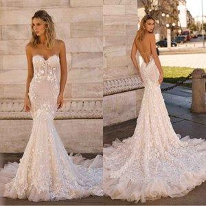 Berta 2020 Nuevos vestidos de novia Sexy sin tirantes Backless Lace 3D-Apliques florales Vestidos de novia Tallas grandes Barrido de tren Sirena Vestido de novia