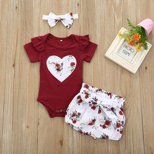 2020 New Baby Girl Clothing Solid Color Tops Newborn Kids Baby Girls Outfits Clothes Jumpsuit Bodysuit+Flower Printed Shorts Set