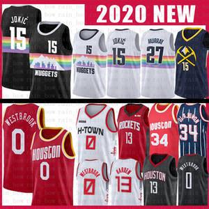 0 Russell Westbrook Nikola NCAA de basket-ball Jersey 15 Rocket 13 James Harden 34 Hakeem Olajuwon Jamal Jokic 27 Murray Jerseys