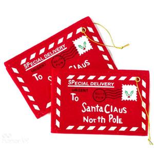 لسانتا كلوز الأحمر عيد الميلاد تحية مغلف قلادة عيد الميلاد الديكور حقائب هدايا فتاة بطاقات مدرسة الزفاف اكسسوارات للمنزل