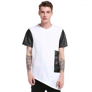 V Neck Short Sleeve Tees Men Clothing Mens Design Patchwork T-Shirts Fashion Natural Color Tees Sondary