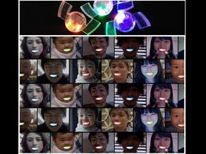 Cadılar Bayramı ışık ayraçları maskeli eğlenceli bir atmosfer sahne malzemeleri oyuncak hediye tezahürat dişler ışıklar hayaletleri parlayan parantez yanıp sönen LED