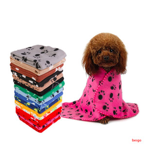 60*70cm Pet Blanket Small Paw Print Towel Cat Dog Fleece Soft Warmer Lovely Blankets Beds Cushion Mat Dog Blanket Cover 22 Colors DBC BH3013
