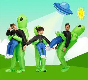 Estrangeiro NOVO Natal traje inflável desempenho Walking figurinos engraçados estrangeira verde vestido de festa para adulto cosplay trajes infláveis A07