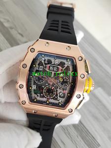 Luxry vendendo RM11-03RG oca fora Big Data Dial automático RM 11-03 50 milímetros Mens Watch Rose pulseira de borracha ouro capa preta Gents relógio do esporte