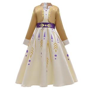 소녀 긴 소매의 거짓 두 조각 눈의 여왕 화려한 의상 할로윈 선발 대회 파티 의류 3-12Tone 배송 YY에 대한 새로운 작은 안나 드레스