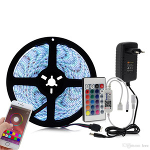 Bluetooth Controller RGB LED Strip Set 12V LED Strip 5050 5m 60LED m+ 24key Bluetooth Controller + Power Adapter
