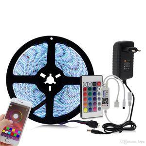 Controlador Bluetooth RGB LED Strip Set LED 12V Faixa de 5050 5m 60LED / m + 24key Bluetooth Controlador + Power Adapter