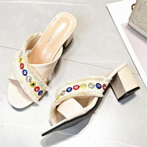 sandali Sagace estate 2020 donne pantofole Boemia pattini della spiaggia delle donne Moda strass all'aperto pantofole Femminile Roma Tacchi alti