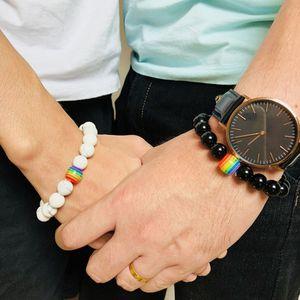 Aşk için Çift Bilezik Gökkuşağı Bayrağı Topu Doğal Taş 18 Akik Siyah Oniks Boncuk Bileklik Bileklik Haziran LGBT GAY Gurur Bilezikler Takı