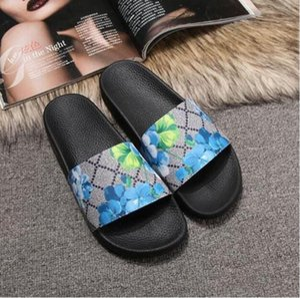 Homens Mulheres Chinelos Com Caixa De Luxo Designer de Moda Clássico Macio Sandálias de Slides de Impressão Floral Chinelos de Borracha Casuais Chinelo Azul Floral