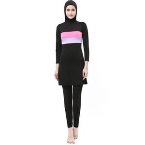 Nuovo costume da bagno musulmano del burkinis abbigliamento modesto abbigliamento femminile separato islamico costume da bagno lungo Muslimah hijab costumi da bagno musulmani Y19062801