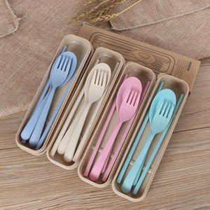 Exquis santé environnementale blé Platycodon paille Couverts Camping Tablewarel Cuillère Portable Fork Camp Set de cuisine Chopsticks ZZA1086