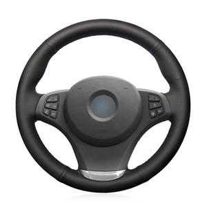 Per BMW E83 X3 2003-2010 copertura del volante cucito a mano in pelle artificiale nera