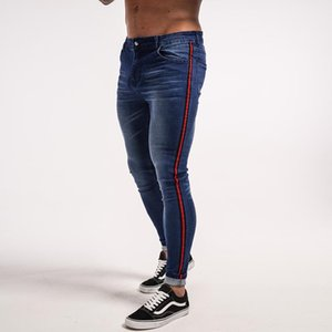 Trendy Mens Hiphop Street Jeans Striped Black Blue Zipper Jean Pants Skinny Trousers